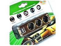 Разветвитель для прикуривателя WF-6037 3100mA 2-Usb Тройник для авто