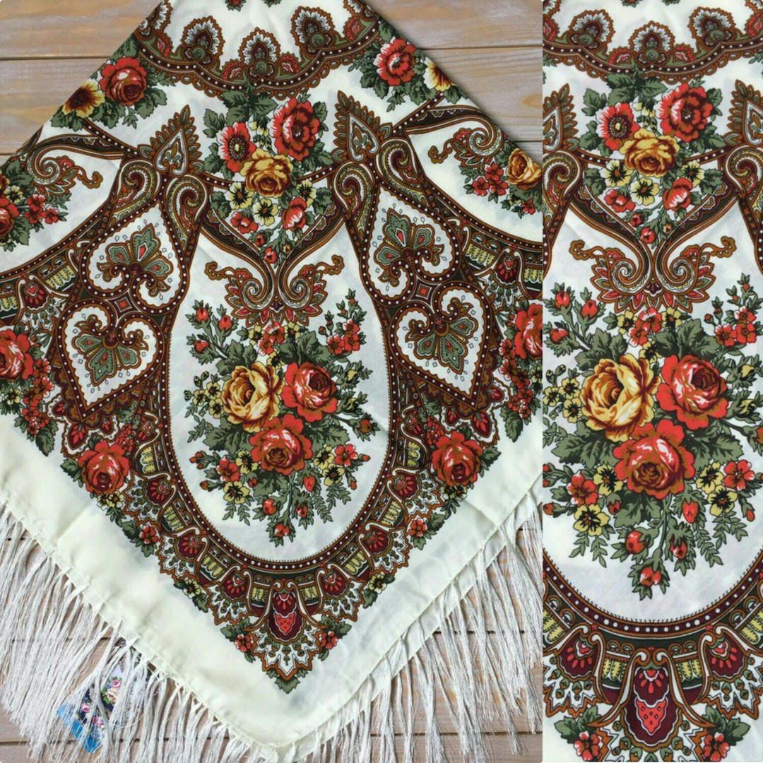 Красивый платок для девушки с узорами и цветами (120х120см, 80%-шерсть)