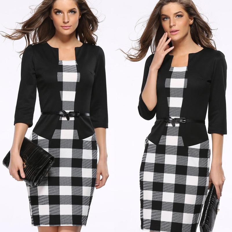 Платье пиджак-обманка черный в принт  клетка