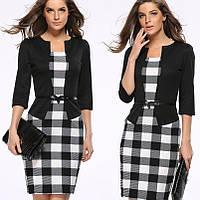 Платье пиджак-обманка черный в принт  клетка, фото 1