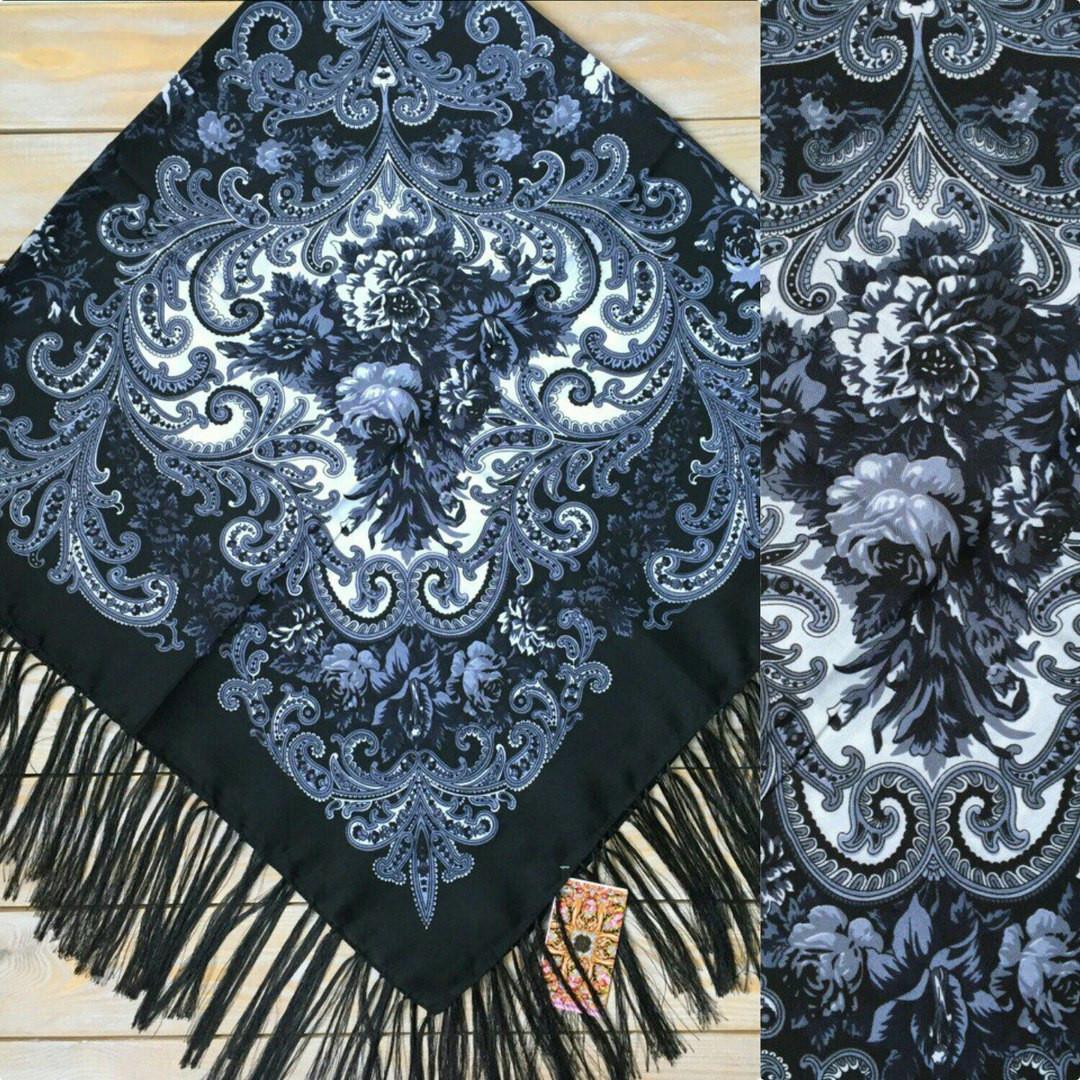 Красивый женский платок с узорами и цветами (120х120см, чорний, 80%-шерсть)