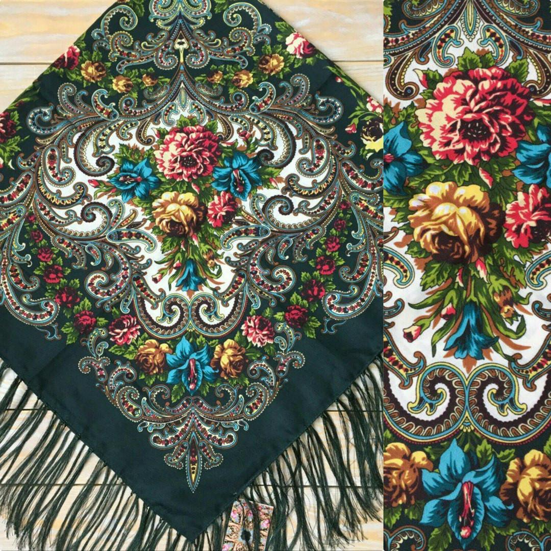 9a3750c889d2 Купить Вишукана хустина темно-зелена хустина з квітами (120х120см,  темн-зелений, ...