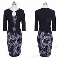 Платье пиджак-обманка с принтом листья пальмы повседневное офисное