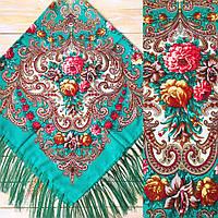 Женский красивый платок с цветами(120х120см, зелёный, 80%-шерсть), фото 1
