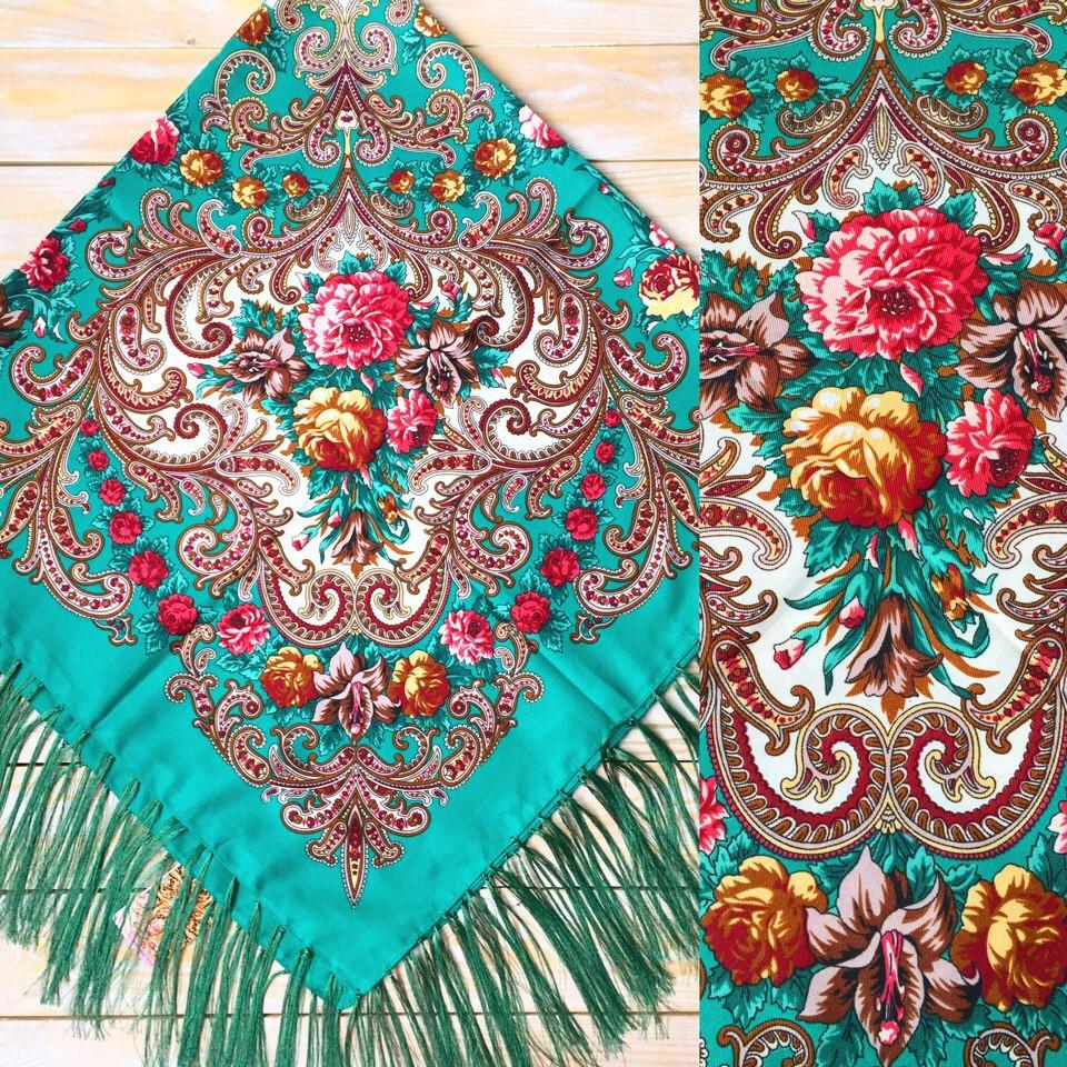 Женский красивый платок с цветами(120х120см, зелёный, 80%-шерсть)