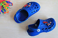 Детские синие кроксы пляжная летняя обувь Crocs тм Виталия р.20-21,30-35