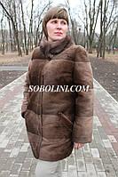 Шуба с мехом южно- американского бобра, цвет мокко, воротник норочка, длина 80см, 48р.в наличии