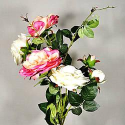 Роза искусственная 3 бутона 85 см в ассортименте