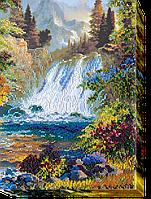 Набор для вышивания бисером на художественном холсте Водопад