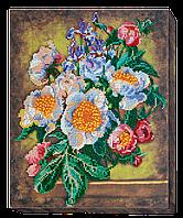 Набор для вышивания бисером на художественном холсте Пионы необыкновенные