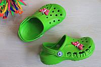 Детские зеленые кроксы Crocs для девочки тм Vitaliya р.32-35