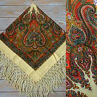 Женский платок с орнаментом и бахромой (100х100см, шампань, 100%-акрил)
