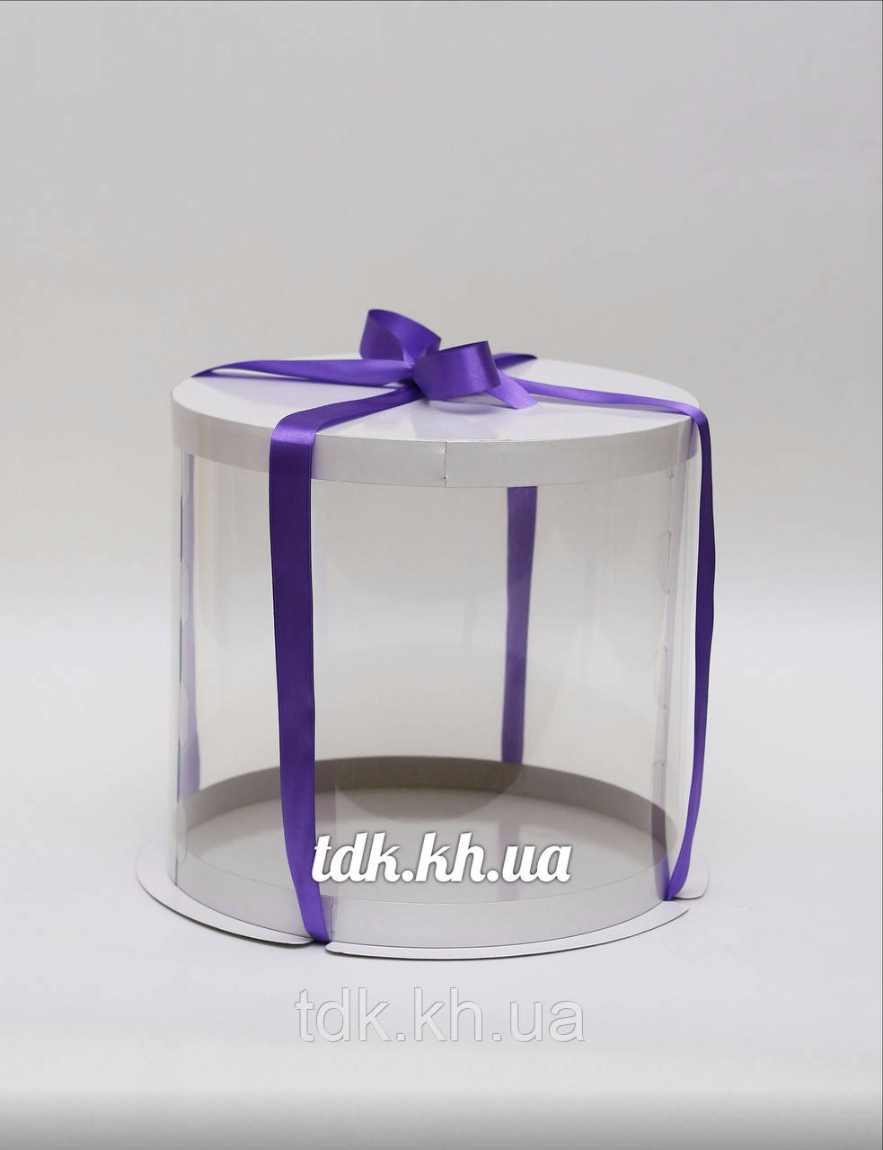 Коробка для торта белая с прозрачной стенкой Ø30 H19