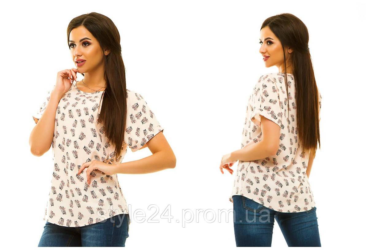 Жіноча легка блуза на короткий рукав з принтом.Розміри 42-52