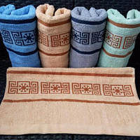 Яркие махровые банные полотенца с красивой отделкой. Размер:1,4x0,7