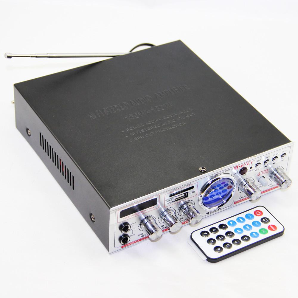 Аудио усилитель YT-K03 стерео усилитель звука в машину SD/USB/FM/Микрофон + пульт ДУ