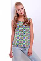 Универсальная яркая блузка на лето без рукавов с принтом витраж