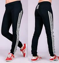 """Спортивні штани жіночі """"Три лампаса"""" на манжеті (чорні)"""