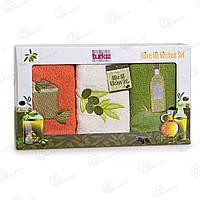 Набор кухонных полотенец Olive oil kitchen set Turkiz Турция 3p-0050