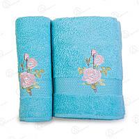 Подарочный набор полотенец (банное+лицевое) с узором Розы Turkiz Турция 3p-0061