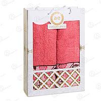 Подарочный набор полотенец (банное+лицевое) с цветочным узором Cotton Area Турция 3p-0044corall