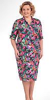 Платье стильное Novella Sharm-2642-1 белорусский трикотаж из ткани Креп-шифон цвета мультиколор