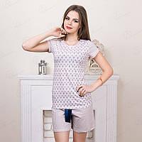 Комплект женский узорный с футболкой и шортами Pink Secret Турция TT-0019