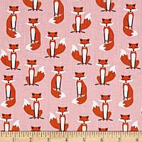 """Ткань для пэчворка и рукоделия американский хлопок """"Лисички на розовом"""" - 22*55 см"""