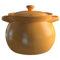 Кастрюля термостойкая керамическая с крышкой 2,75 л коричневая Sacher SHKP00067