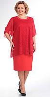 Платье нарядное Novella Sharm-2728-1 белорусский трикотаж из ткани Гипюр цвета коралл