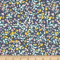 """Ткань для пэчворка и рукоделия американский хлопок """"Цветы серо-мятные"""" - 22*55 см"""