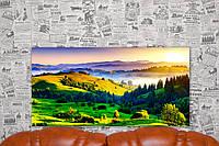 """Картина на холсте """"Природа. Восход. Пейзаж. Луга"""".  80х40 см."""