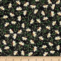 """Ткань для пэчворка и рукоделия американский хлопок """"Цветы на черном"""", ЗОЛОТОЕ напыление - 22*55 см"""