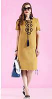 Платье Lissana-3055 белорусская одежда из ткани Лен цвета горчичный