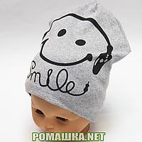 Детская весенняя, осенняя трикотажная шапочка р. 50-54 хорошо тянется ТМ Ромашка 3520 Серый 52