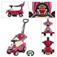 Машинка каталка-толокар с родительской ручкой и 360 поворотными колесами Bambi