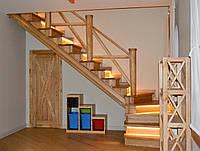 Лестница деревянная закрытая поворотная для дома, фото 1