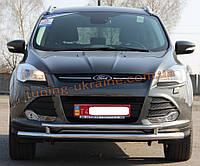 Защита переднего бампера труба двойная из нержавейки на Ford Kuga 2012