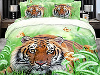 Постельное белье Шерхан, сатин панно 3Д (фотопринт) 100%хлопок - полуторный(Евро) комплект