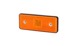 Габаритно - контурный фонарь HOR 42, оранжевый, с диодом LED, отражателем  и с резиновым корпусом, 12/24 V, 0,5 м кабель