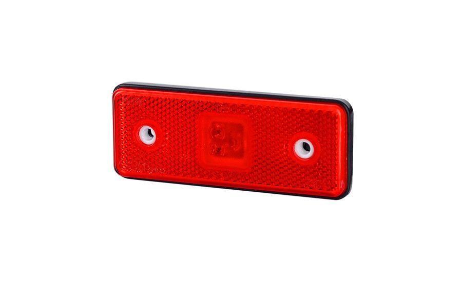 Габаритно - контурный фонарь HOR 42, красный, с диодом LED, отражателем  и с резиновым корпусом, 12/24 V, 0,5 м кабель