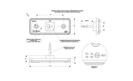 Габаритно - контурный фонарь HOR 42, красный, с диодом LED, отражателем  и с резиновым корпусом, 12/24 V, 0,5 м кабель, фото 2