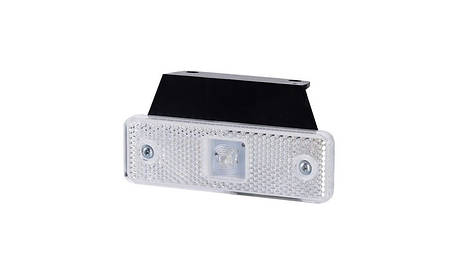 Габаритно - контурный фонарь HOR 55, белый, с кронштейном, диодом LED и отражателем, 12/24 V, 0,5 м кабель, фото 2