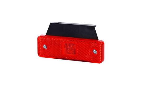 Габаритно - контурный фонарь HOR 55, красный, с кронштейном, диодом LED и отражателем, 12/24 V, 0,5 м кабель, фото 2