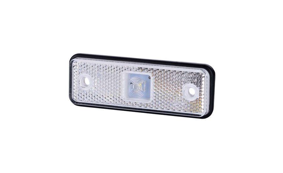 Габаритно - контурный фонарь HOR 55, белый, с диодом LED и отражателем, 12/24 V, 0,5 м кабель, на резиновой подкладке