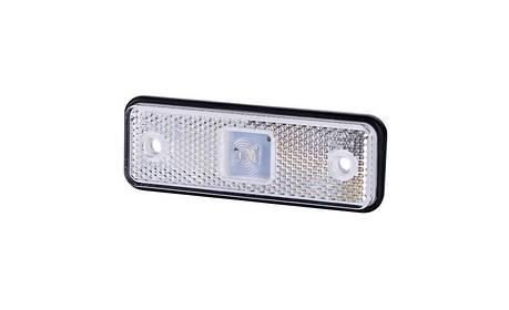 Габаритно - контурный фонарь HOR 55, белый, с диодом LED и отражателем, 12/24 V, 0,5 м кабель, на резиновой подкладке, фото 2