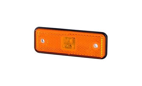 Габаритно - контурный фонарь HOR 55, оранжевый, с диодом LED и отражателем, 12/24 V, 0,5 м кабель, на резиновой подкладке, фото 2