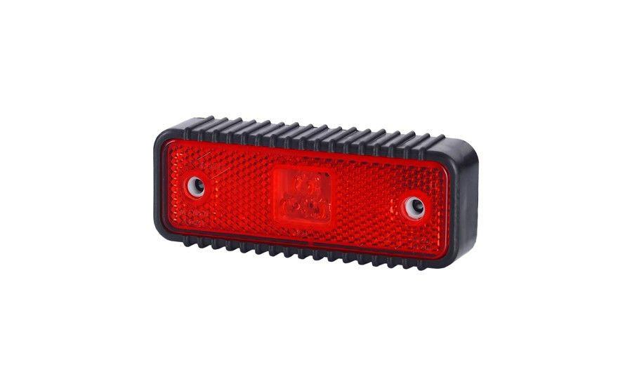 Габаритно - контурный фонарь HOR 55, красный, с диодом LED, отражателем и широкой, рифлованой подкладкой, 12/24 V, 0,5 м кабель