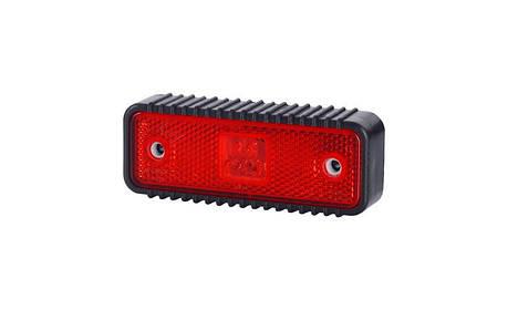 Габаритно - контурный фонарь HOR 55, красный, с диодом LED, отражателем и широкой, рифлованой подкладкой, 12/24 V, 0,5 м кабель, фото 2