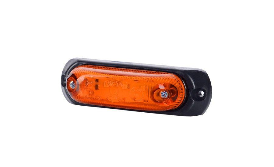 Габаритно - контурный, овальный фонарь с диодом LED и резиновой подкладкой, оранжевый, 12/24 V, 0,5 м кабель